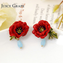 Flores y plantas serie esmalte Gules flor peonía 925 agujas de plata partido lujo pendiente mujeres moda joyería