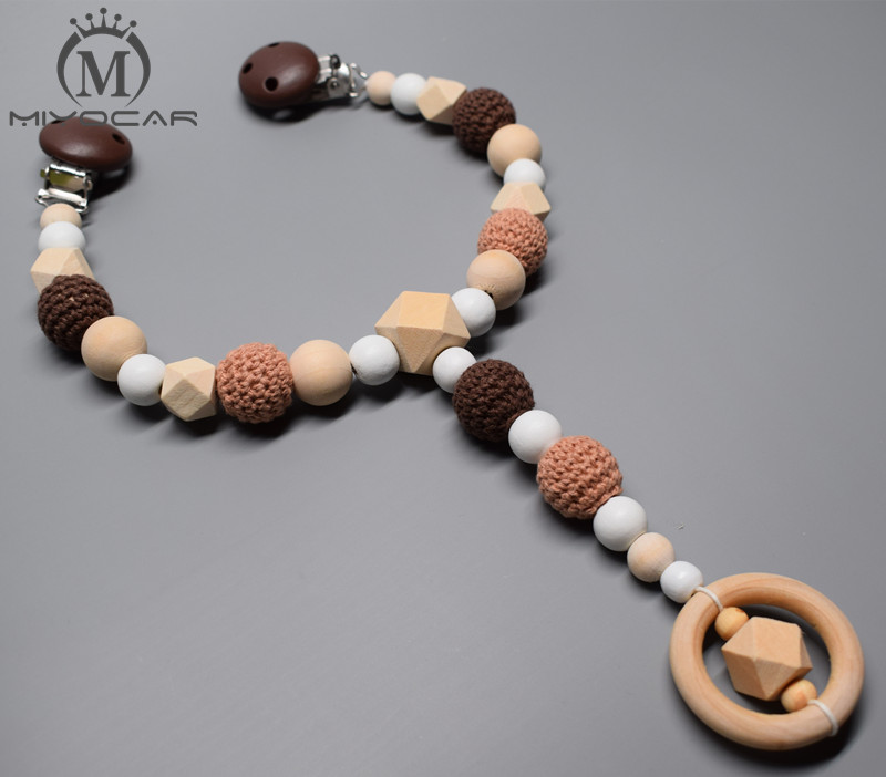 MIYOCAR Cute Brown Natural Wooden Beads Baby Pram Charm Stroller Toy Baby Rattles Mobiles Toy Rattle Attached To Bed