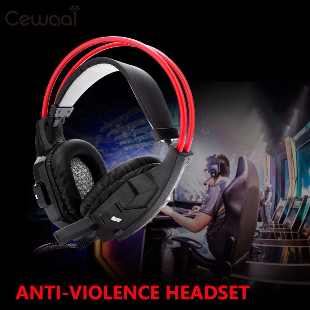 Cewaal 3.5mm Audio Wired Heavy Bass Gaming Player Over Ear Headset Headphone with Microphone Volume Control For PC Laptop