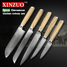 XINZUO 5 pcs kitchen knife set Damascus kitchen knife Japanese VG10 chef cleaver utility knife logs wood handle free shipping