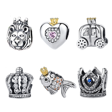 Authentic 925 Sterling Silver Charm Bead Royal Crown Crystal Charms Fit Original Pandora Bracelets & Bangles DIY Jewelry Making