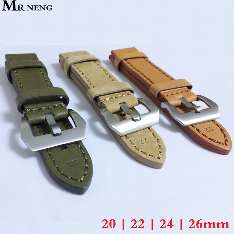 20mm 22mm 24mm 26mm Leather Watch Strap Watch Band Man Watch Straps Green Orange Beige with Stainless Steel Silver Buckle wholesale 10pcs lot 20mm 22mm 24mm 26mm genuine leather crazy horse leather watch band watch strap man watch straps black buckle