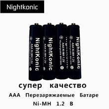 High Quality Nightkonic 10 pcs/lot  aaa battery 1000mAh 1.2V NI-MH AAA Rechargeable Battery Black