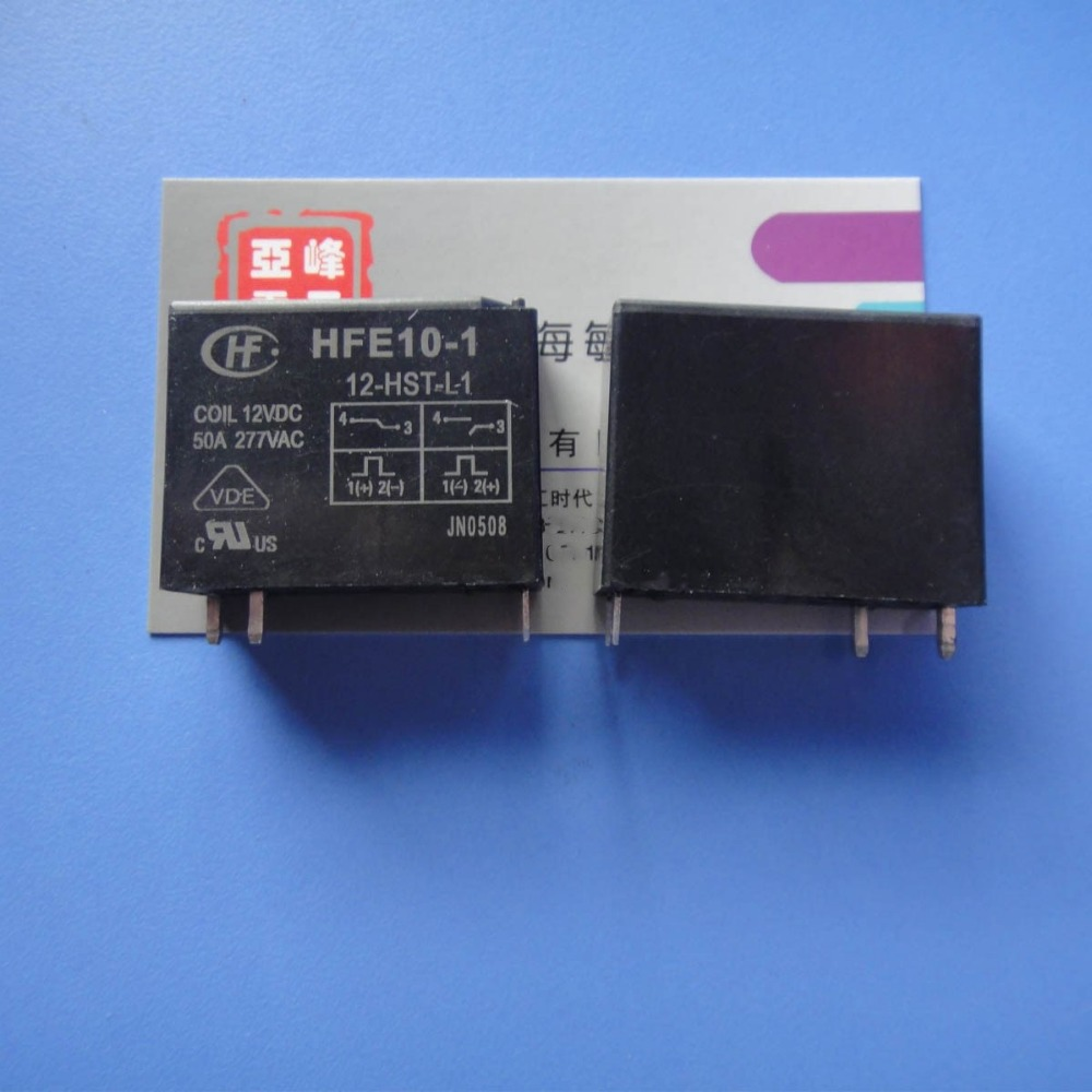 цена на NEW 12V relay Single coil a set of normally open magnetic holding relays HFE10-1-12-HST-L1 HFE10-1 12-HST-L1 50A 277VAC 4PIN