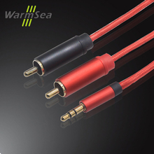 3.5 jack to 2 RCA Cable 1m 2m 3m 5m HIFI  Gold Plated Nylon  for  Speak Home Theatre