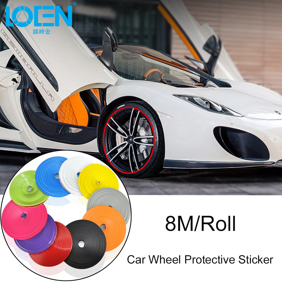 LOEN 8M/Roll Car Wheel Protector Sticker Hub Trim Tire Decoration Anti-Collision Strip Wheel Rim Protector Ring Auto Accessories