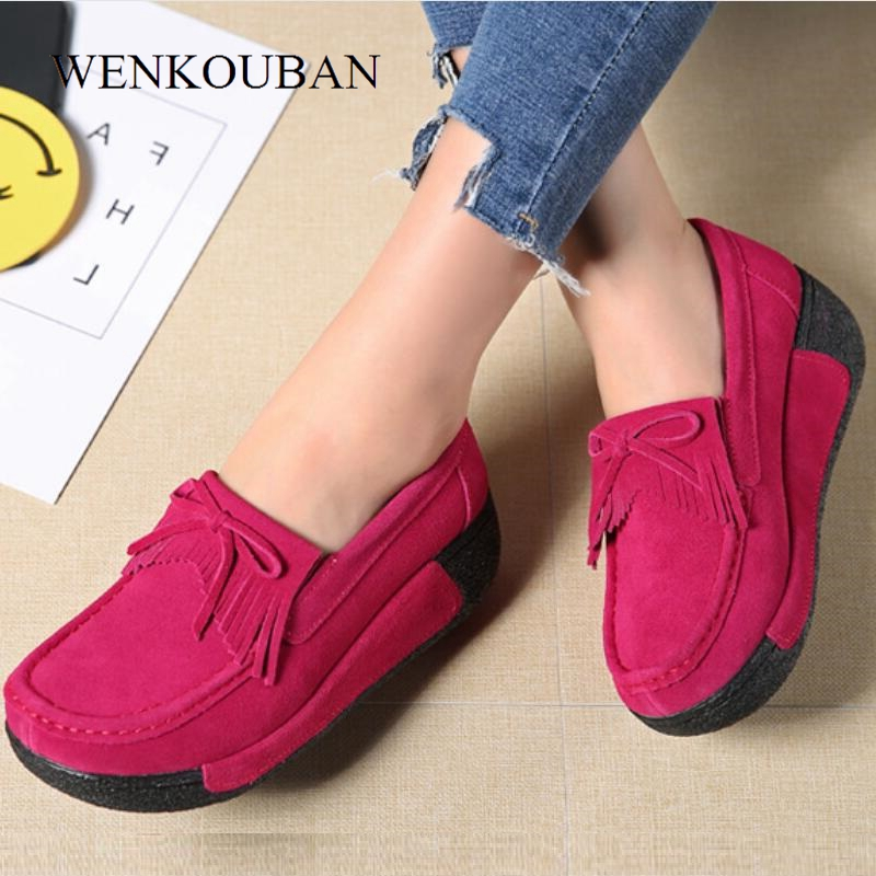 Leather Suede Women Flats Creepers Platform Shoes Women Loafers Casual Shoes Slip On Ladies Flat Shoes Moccasins Zapatos Mujer Обувь