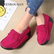 가죽 스웨이드 여성 플랫 크리퍼 플랫폼 신발 여성 로퍼 캐주얼 신발 슬립 숙녀 플랫 신발 Moccasins Zapatos Mujer