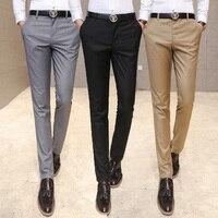 Calças roupas terno dos homens/Masculino alta-grade pure color slim Fit Terno de negócio calças/Masculino alta-end lazer calças perna fina