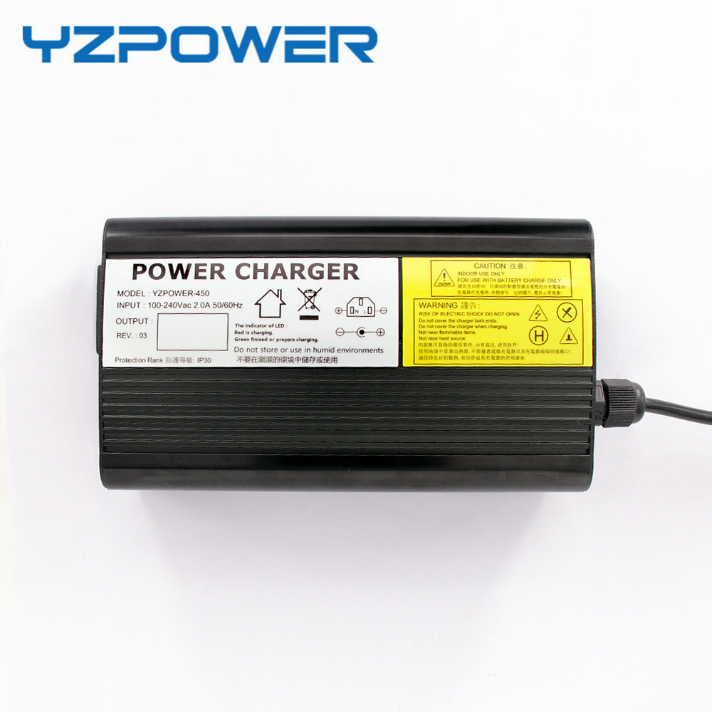 YZPOWER Auto-Stop 54.6V 5A Lithium Battery Charger For 48V Li-Ion Lipo Battery Pack Cooling with Fan Inside 24s lipo li ion lithium battery charger 100v 100 8v 5 6amp 600w aluminum electric vehicle charger