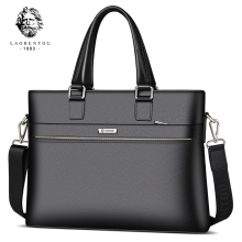 Laorentou Men Briefcase Cow Leather Crossbody Bags Man Totes