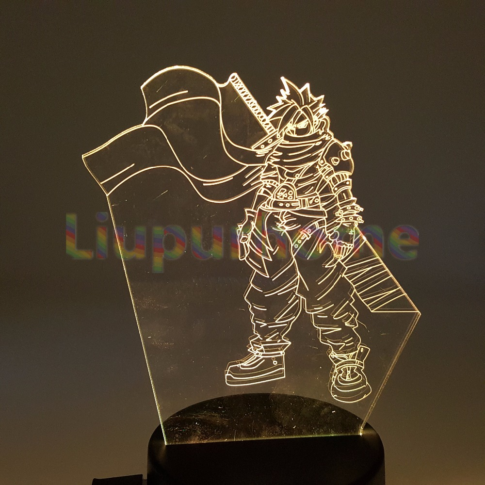 Final Fantasy Cloud Strife 3D Visual Illusion LED Usb Led Night lights Final Fantasy Lamp For Christmas Bedroom Decorate anime folding wallet final fantasy vii cloud strife sephiroth high quality short pu purse free shipping