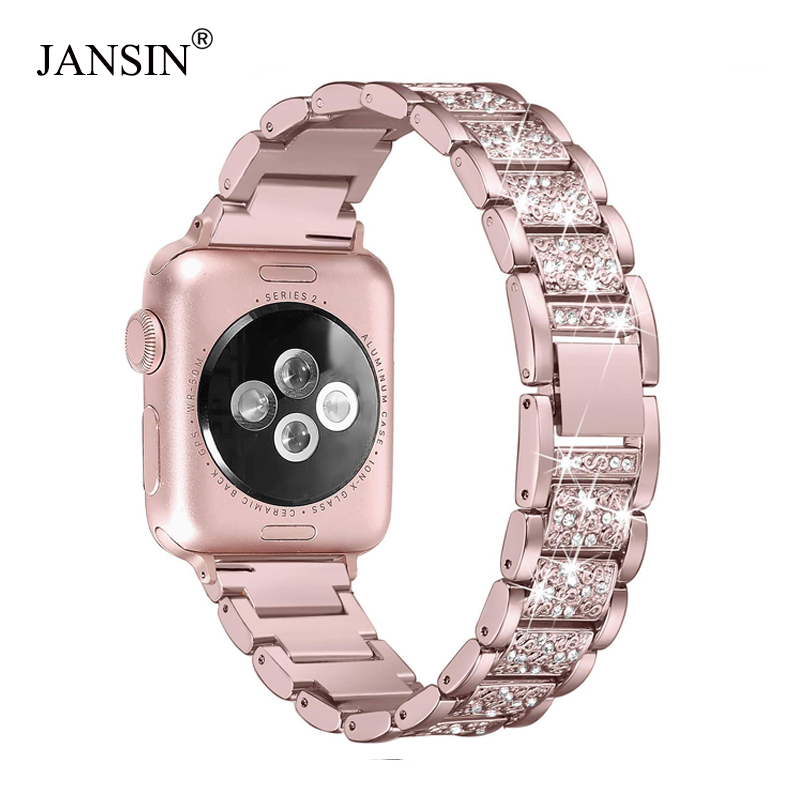 For Apple Watch band 40mm 44mm 38mm 42mm women Diamond Band for Apple Watch series 4 3 2 1 iWatch bracelet stainless steel strap diamond stainless steel band for apple watch 38mm 42mm series 3 2 1 replacement strap band for iwatch with butterfly buckle