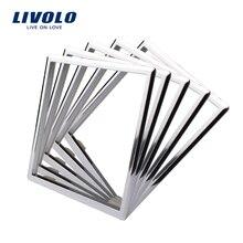 Livolo аксессуары для розеток стандарта ЕС, декоративная рамка для розеток, одна упаковка/5 шт, серебристый/белый/черный цвет