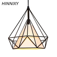 Hinnixy Retro Cord Pendant Lights LED White Black Metal Frame Lamp 110V 220V E27 Iron Cage Droplight Fixture For Cafe Loft Decor