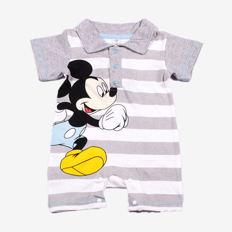 2018 New Summer Cute Cartoon Striped Baby Boy Romper One Piece Infant Jumpsuit Toddler Bebes Roupa Baby Boy Clothes Overalls