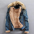 2016 New Winter Men's Water Washed Denim Jacket Teenagers Plus Velvet Fur Collar Denim Jackets Plus Size 4XL Coat