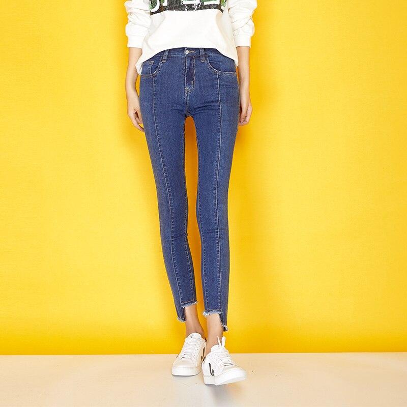 LEIJIJEANS Neue Herbst High Street Plus Größe L Getäfelten Gespleißt Licht Blau Mittlere Taille Cut Dünne Bleistift Elastische Jeans Frauen 7264