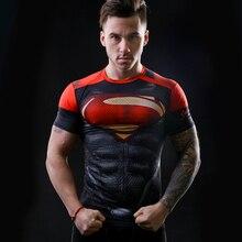 2016 marvel batman compression shirt fitness tights crossfit quick dry short sleeve t shirt Summer