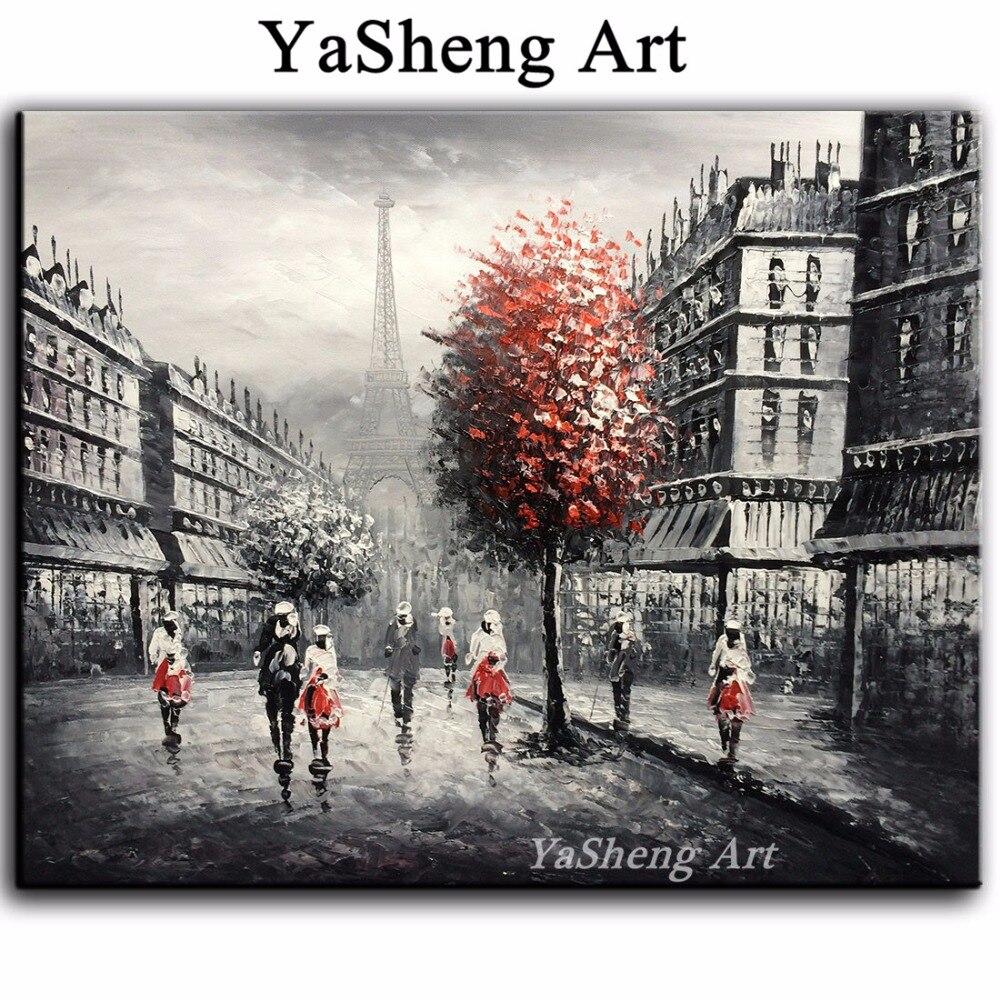 Yeni əl işlənmiş yağlı boya qara və ağ qırmızı Eyfel Paris - Ev dekoru - Fotoqrafiya 1