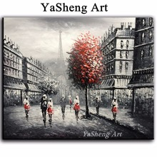 New Handpainted Oil Painting Black and white Red Eiffel Paris France City Landscape Paintings Modern Home Decor Art Wall Picture
