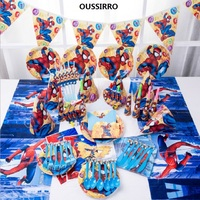 OUSSIRRO Children Birthday Party Supplies 60pcs For 6 kids Spider Man Theme Decorate Dishes And Cup and Flag Paper Party Tools