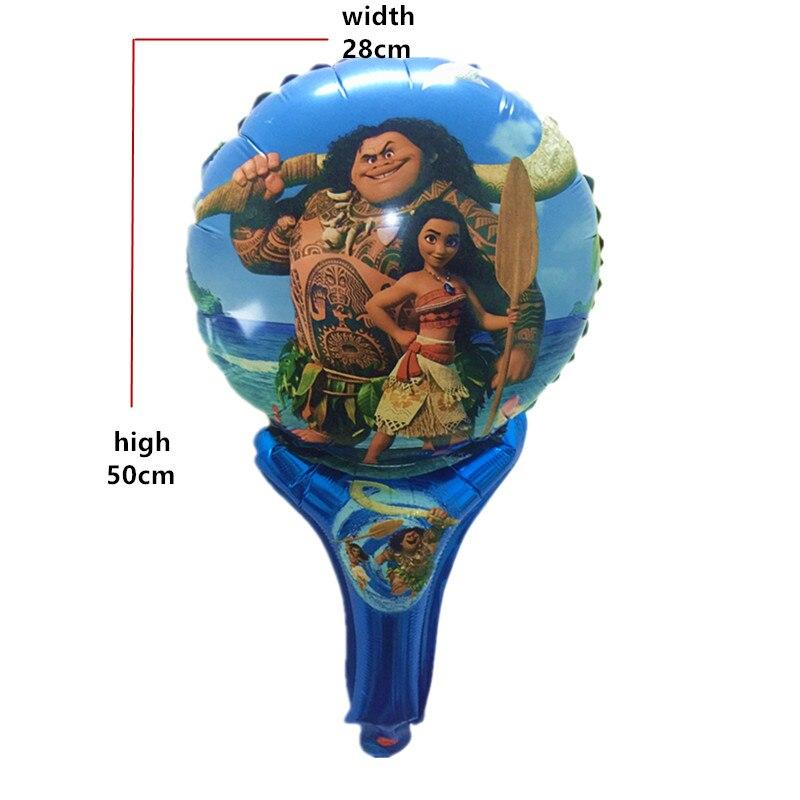 QGQYGAVJ 50pcs MOANA balloons balloons hand hold stick Happy Birthday Decoration balloon for party balloons air Balls