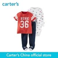 Carter 3 pcs do bebê dos miúdos das crianças roupas menino queda & winter 3-Piece Babysoft Pés Pant Set bordado & screen impressão 126G315