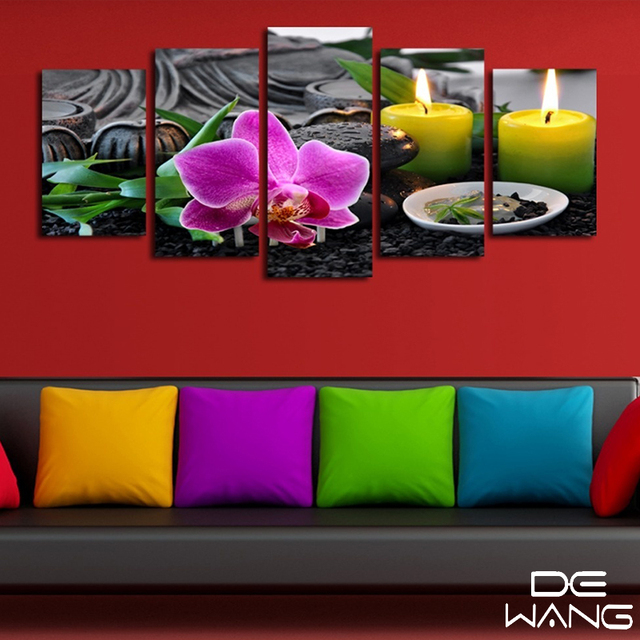 5 Pieces Canvas Wall Art Panels Purple Flowers Candle Canvas ...