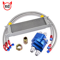 evil energy Universal 10ROW 10AN Racing Oil Cooler Kit+Oil Sandwich Plate Adapter+1M/1.2M/1.4M Stainless Steel Swivel hose End