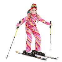 Бесплатная доставка зимние уличные 2017 Обувь для девочек лыжный Водонепроницаемый детская Лыжная куртка Брюки для девочек тепловые мальчик
