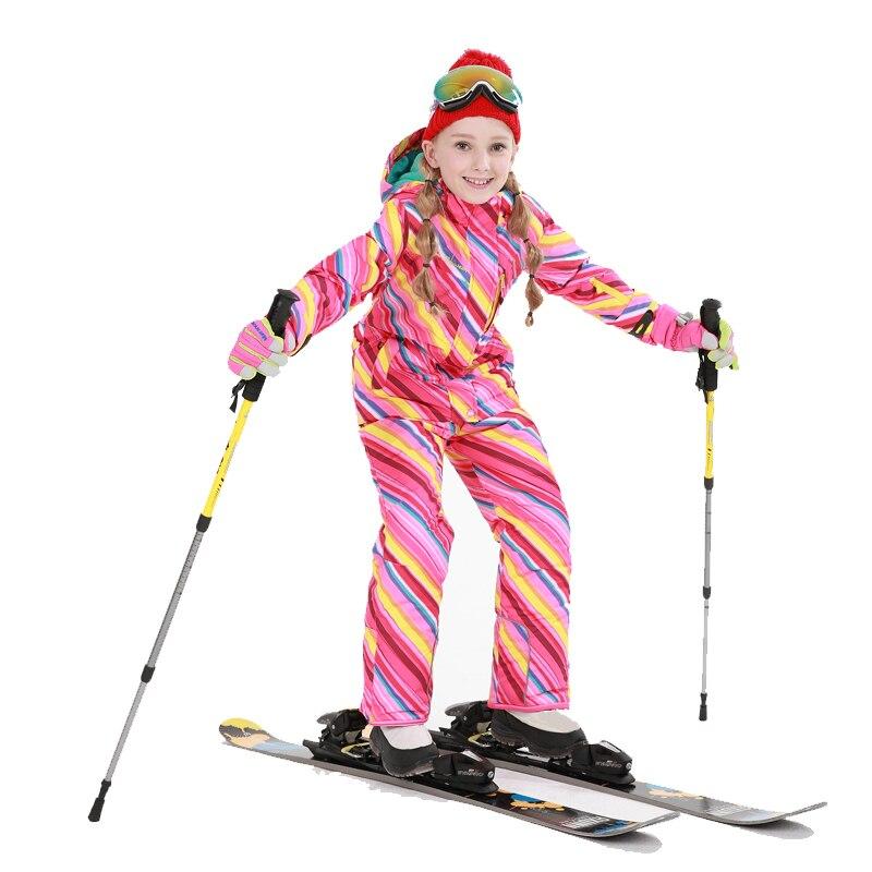 все цены на Free Shipping Winter Outdoor 2017 Girls Ski Waterproof Kids Ski Jacket Ski Pants thermal boys high quality Clothing -30 degree
