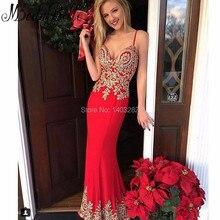 2017 Avondjurken Lange Sexy Red Abendkleider Meerjungfrau Tiefem V-ausschnitt Spaghettibügel frauen Lange Formale Abendkleider Kleider