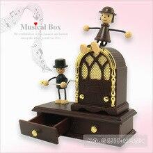 Hand-shaped music box doll house creative desktop dynamic interactive two-drawer metal tone Couple Music Box