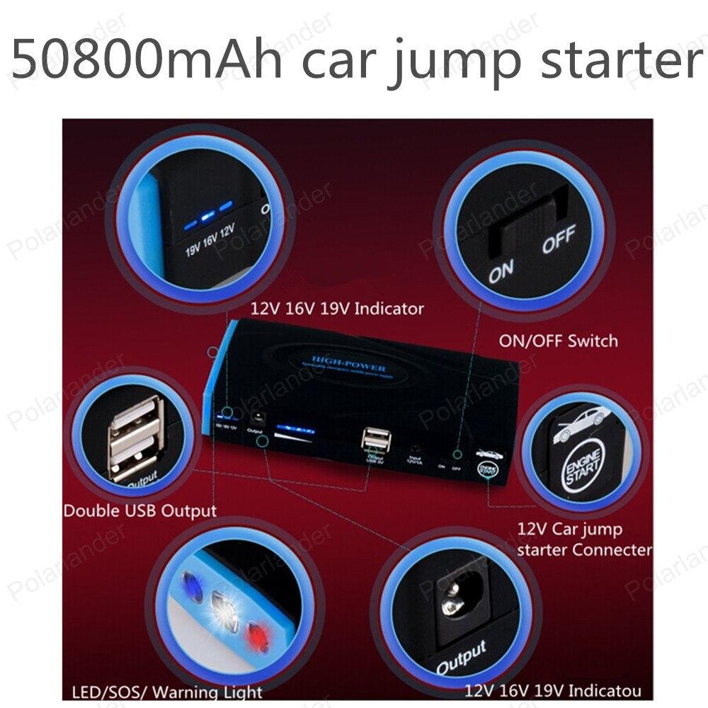ФОТО 50800 MAH Car jump starter Mini Portable Car Jump Starter Emergency Start 12V  Engine Multi-Function 2 USB Power Bank Charger