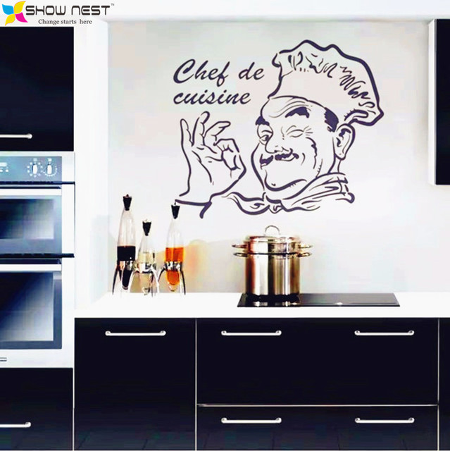 Cucina Adesivi, francese Ched De Cuisine Wall Stickers Home Decor ...