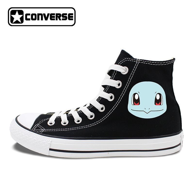 Pokemon Squirtle Design Converse All Star Shoes Mens Womens Skateboarding Shoes High Tops White Black Canvas Sneakers
