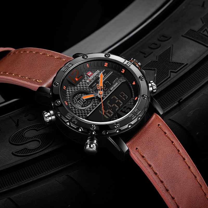 Image 5 - NAVIFORCE Mens Watches To Luxury Brand Men Leather Sports Watches Men's Quartz LED Digital Clock Waterproof Military Wrist Watch-in Quartz Watches from Watches