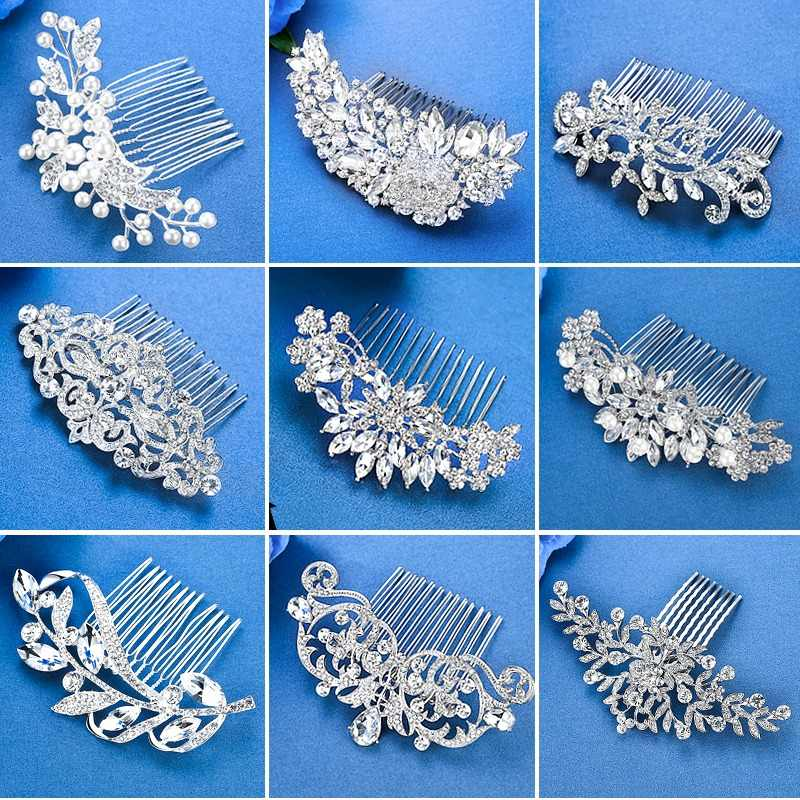 Mecresh Silver Color Rhinestone Flower Leaf Bridal Hair Comb for Girls Crystal Hair Ornaments Jewelry Wedding Hair Accessories