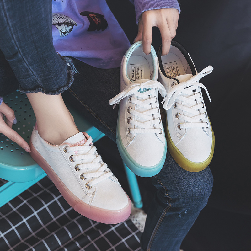 Us 20 85 30 Off Women White Sneakers Jelly Sole Transparent Bottom 2019 Spring New Leather Waterproof Stylish Shoes Girls Pink Shoe Must Have In