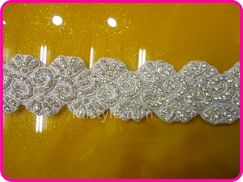 Free shipping Decorative Crystal Rhinestone Beaded Wedding Bridal Dress Applique Chain Trimming