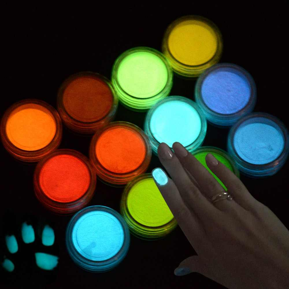 1g Ultrafine Fluorescent Nail Powder Neon Phosphor Colorful Nail Art Glitter Pigment 3D Glow Luminous Dust Decorations YS01-12-1