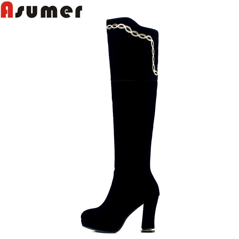 Asumer 2018 high quality new arrive nubuck leather over the knee boots elegant thick high heel platform women boots asumer autumn winter high quality keep warm nubuck leather zip over the knee boots elegant platform high heel women boots