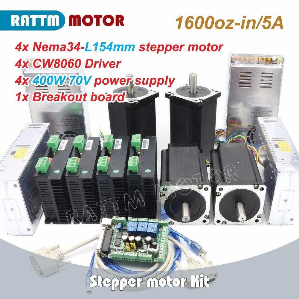 Longs motor 1Axis Nema34 stepper motor 1600oz.in Dual Shaft /& driver power kit