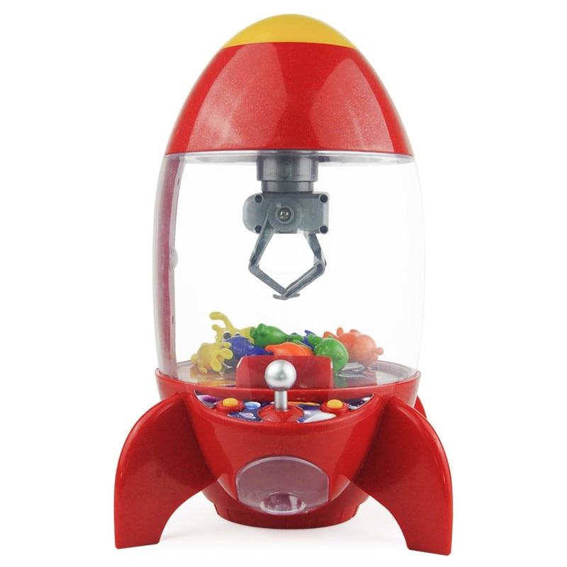 Rocket Catcher Coin Operated Game Machine Kids Birthday Party Gift Desktop Mini Dolls Grabber Machine Claw