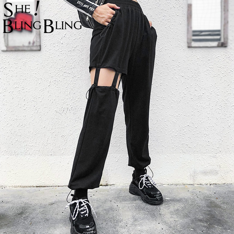 Sheblingbling Straight Pants Pleated Spring Elastic Hollow-Out Autumn Female High-Waist