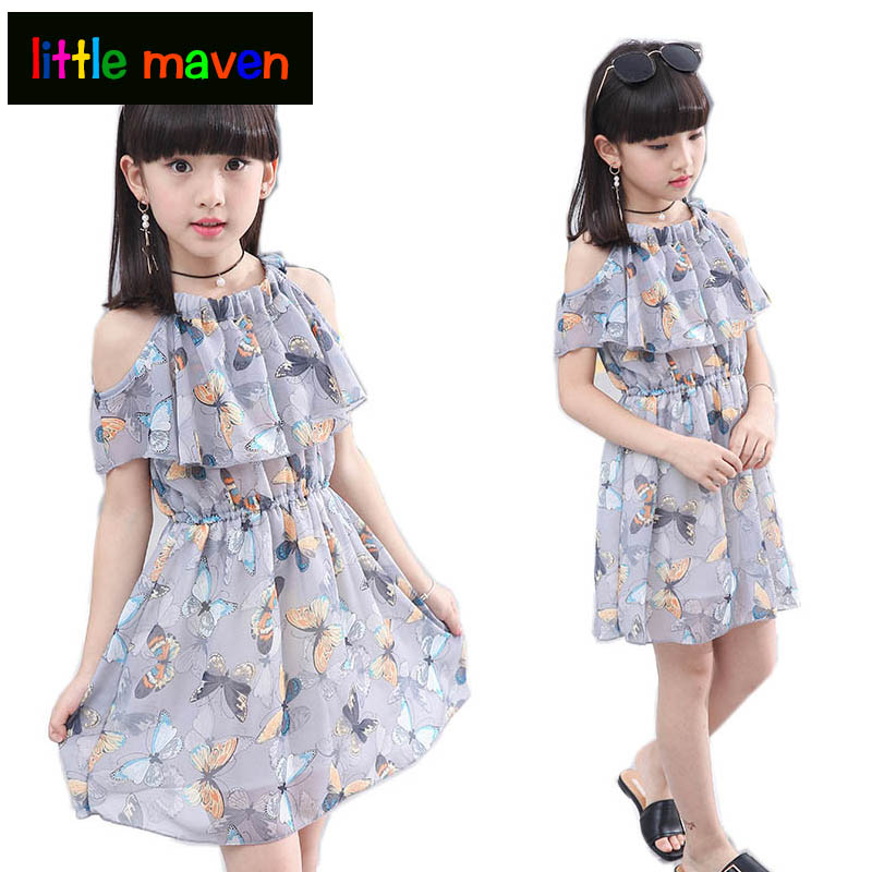 US Summer Toddler Baby Girl Casual Clothes Solid Chiffon Party Dress Sundress