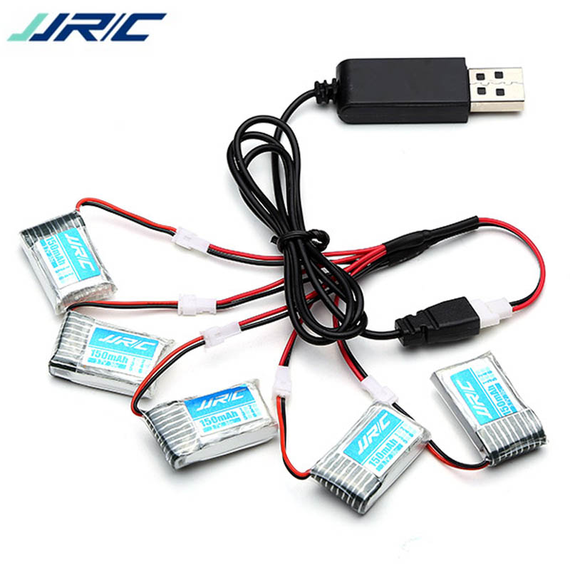 5PCS JJRC H20 H20H RC Quadcopter Spare Part 3.7V 150mAh 20C Rechargeable Lipo Battery Usb Charging Cable Set jjrc h20c rc quadcopter spare parts receiver board