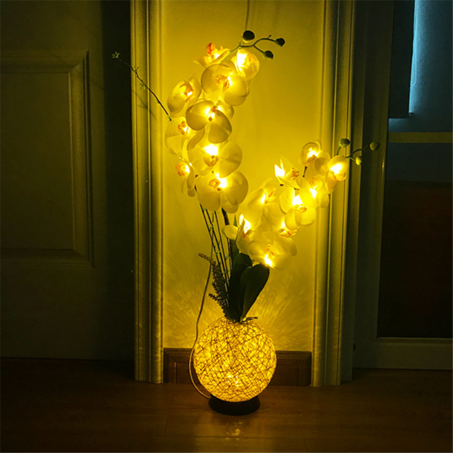 LED Artificial Orchid Flower Decoration For Bedroom Living Room Wedding Christmas New Year's USB Phalaenopsis Arrangement Bonsai