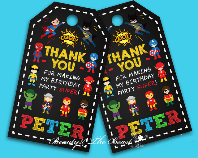personalized superheroes thank you tagsgift favor tags thank you tagsbirthday party